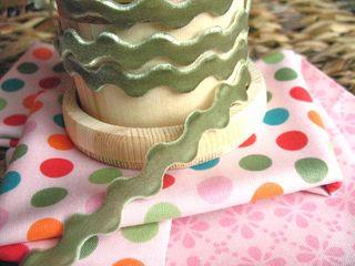 velvet ric rac sweet pea green
